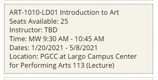 An image of a course section information