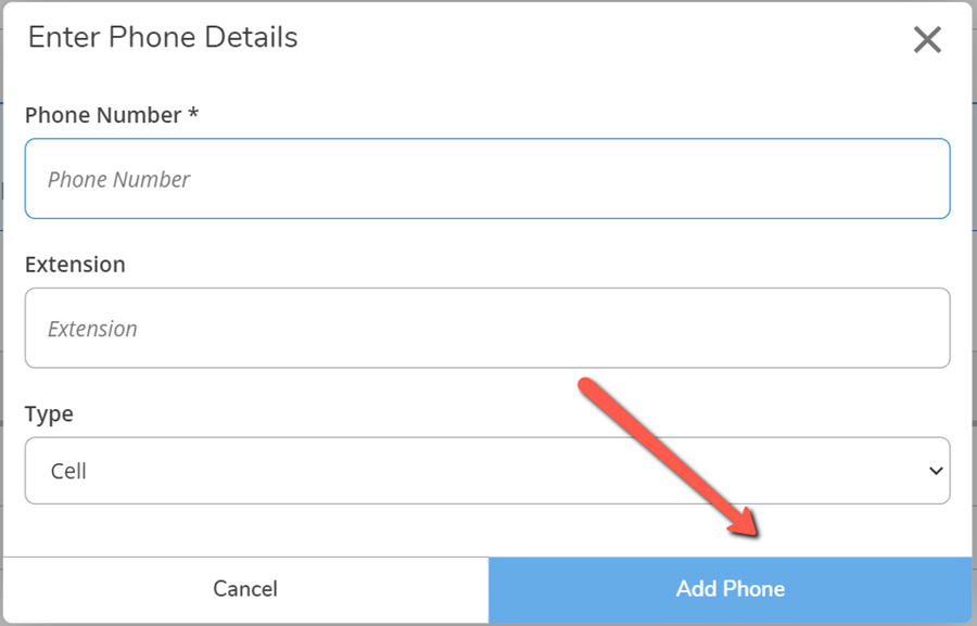 A red arrow pointing to the Add Phone button on the Enter Phone Details dialog