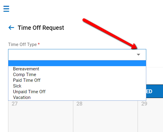 Kronos: An arrow pointing to the Time Off Type drop-down menu displaying the contents