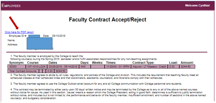 Accept or Reject Faculty Contract