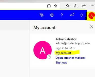 Microsoft Office 365: Logged into Outlook Web Access showing the account manager with the My Account option highlighted