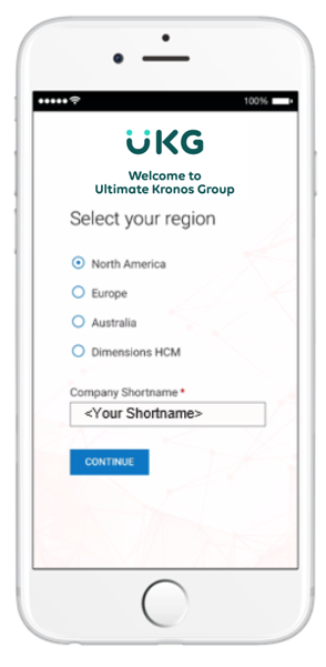 Kronos: The UKG Ready Mobile App opened to the setup screen