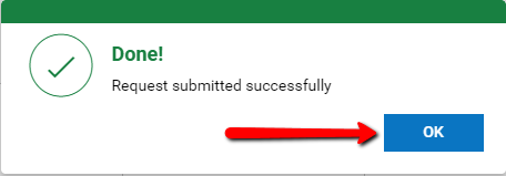 Kronos: The Request submitted confirmation notice with an arrow pointing to the OK button