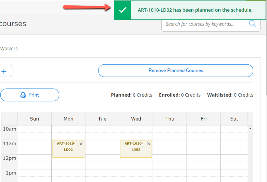 A red arrow pointing to the confirmation message that the course section has been added to your schedule