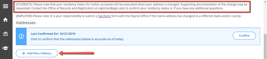 A red box surrounding the residency status disclaimer and a red arrow pointing to the Add New Address button