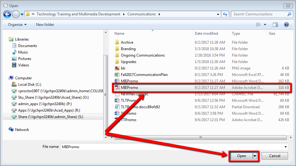 Title: Windows Explorer; Description: Open Dialog with PDF selected and Open button highlighted