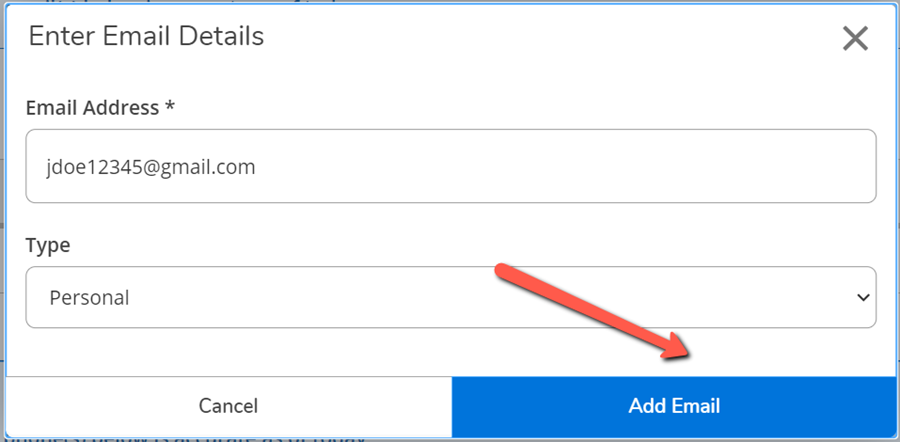 A red arrow pointing to the Add Email button on the Enter Email Details dialog