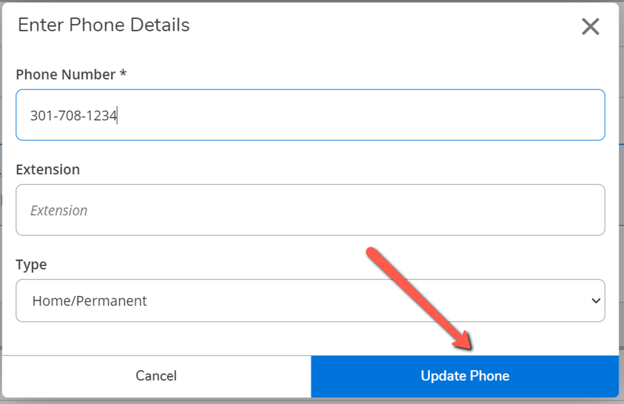 A red arrow pointing to the Update Phone button on the Enter Phone Details dialog