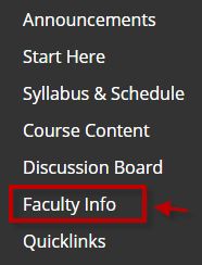 Course Menu, Faculty info circled