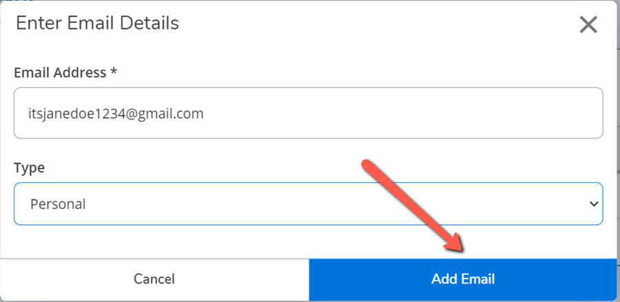 A red arrow pointing to the Update Email button on the Enter Email Details dialog
