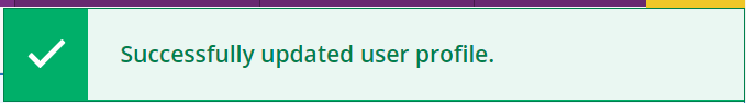 A notification message stating that the user profile was successfully updated