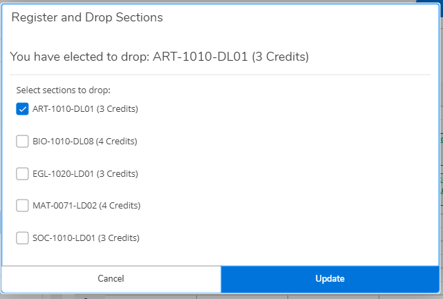 The Register and Drop Sections dialog with a section selected