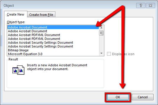Title: Microsoft Outlook; Description: Object Dialog with Adobe Acrobat Document Selected